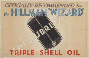 Transport Poster titled: Hillman Wizard Recommend Triple Shell, E Holman, 1931