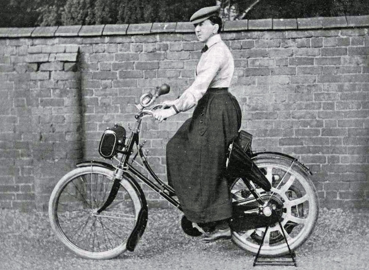 Mary Kennard on Singer motorcycle