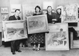 Black and white photograph of Shell artist Brynhild Parker (far right) with fellow artists Elwin Hawthorne, Phyllis Bray and John Cooper