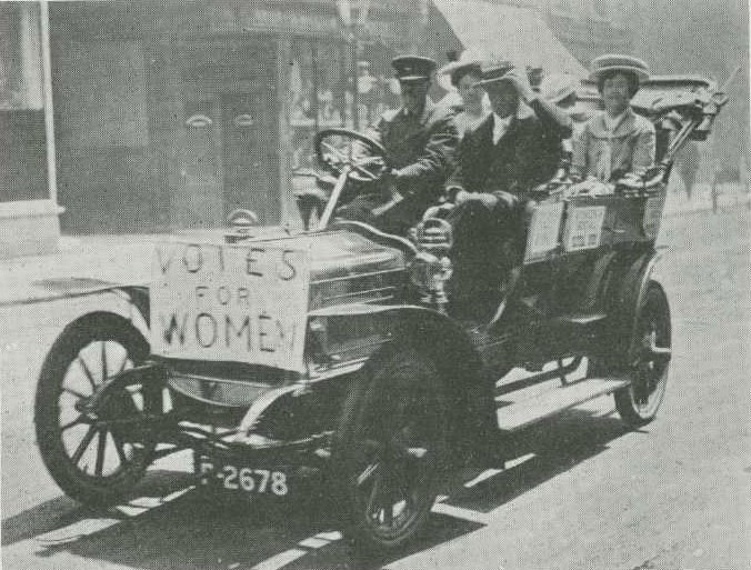 Image of suffragettes driving to court from Car Illustrated
