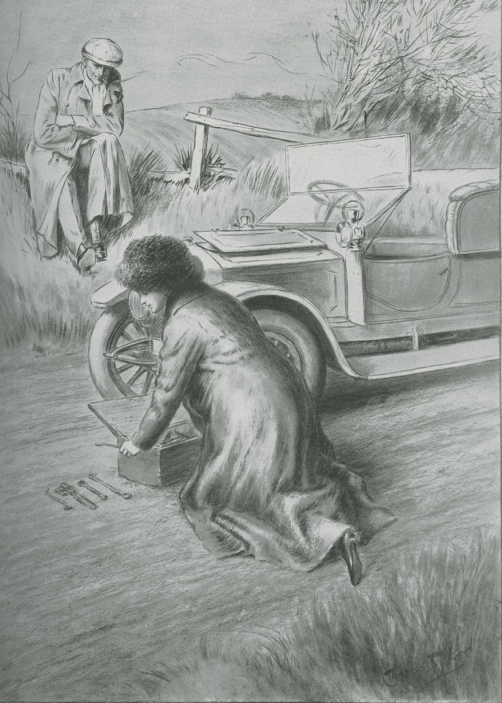 Sketch of suffragette fixing a car