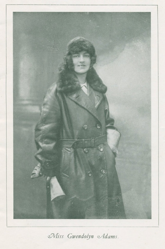 Photographic portrait of Gwendolyn Adams in motorcycle clothing
