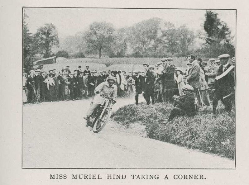 Muriel Hind on motorcycle, competing at Willersey Hill at Broadway , 14 Sept 1910