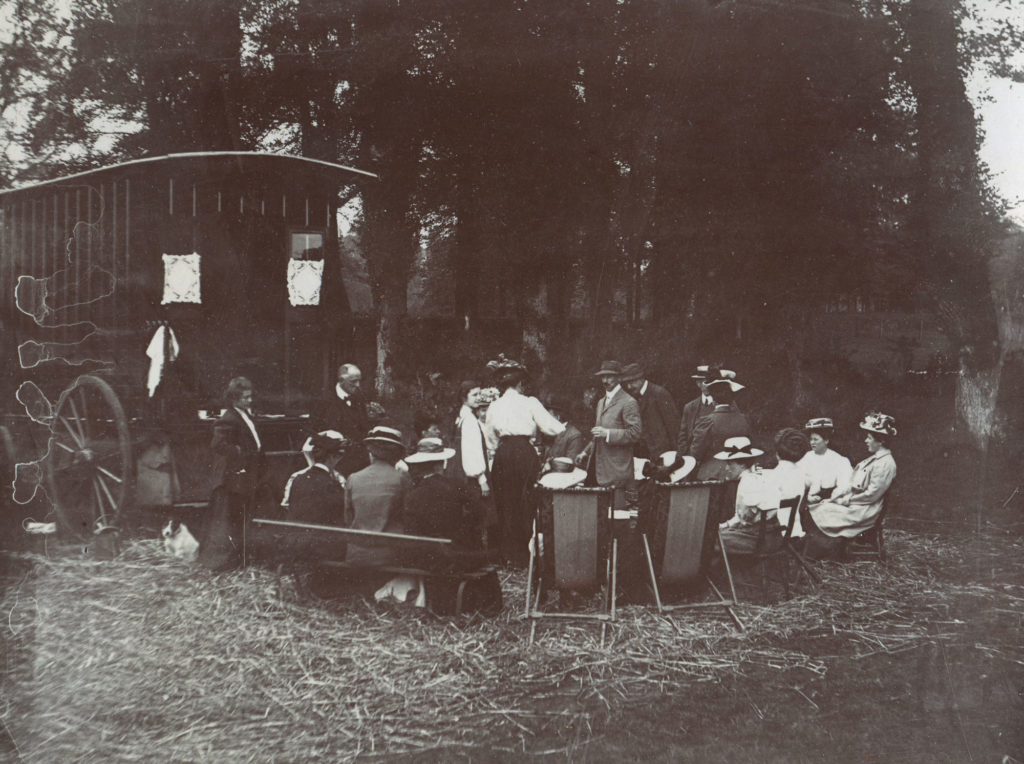 Ladies and gentlemen pictured at the Club's first ever gathering at Ockham, Surrey in 1908 showing the high number of female caravanners