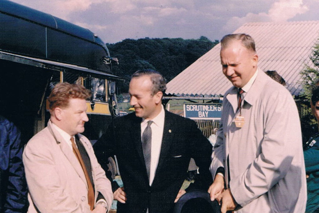 Ron Hickman, left, with Colin Chapman, centre
