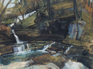 Painting of Clyn-Gwyn Falls, by Janet Sturge, 1967