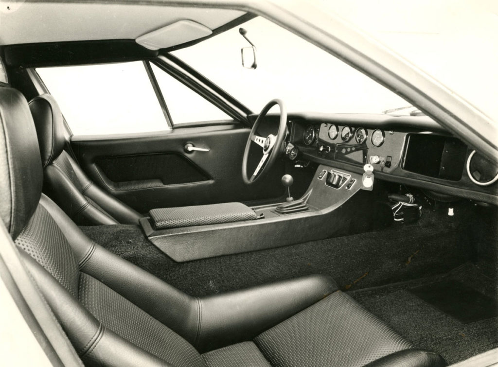 Black and white photograph of the Lotus Europa interior
