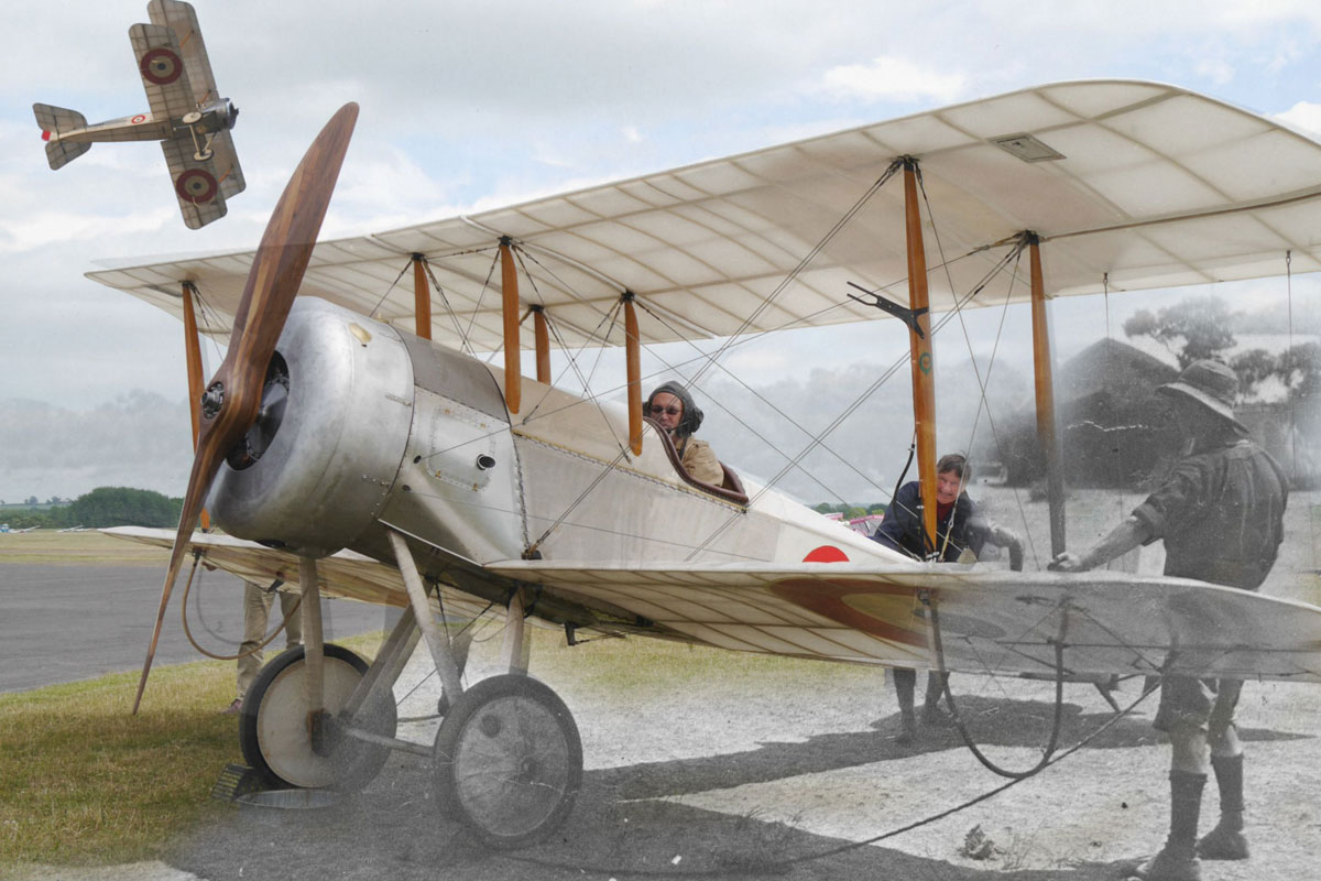 David Bremner in replica Bristol Scout plane
