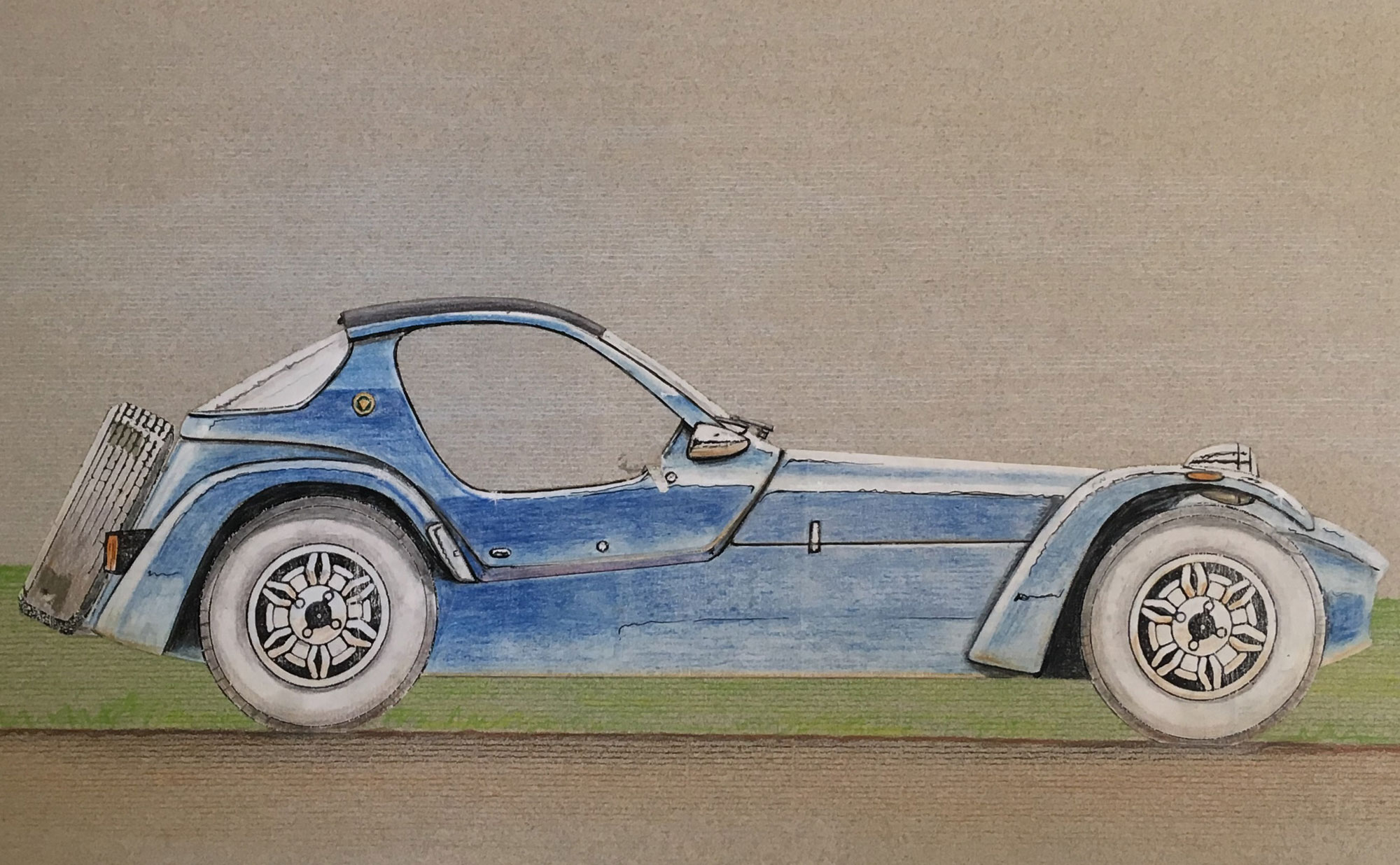 Caterham Seven drawing by Ron Hickman