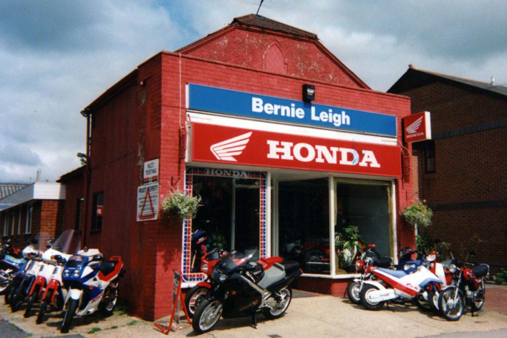 Bernie Leigh's motorcycle shop