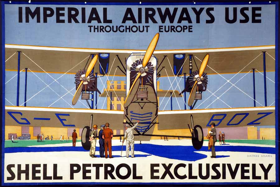 Shell advertising poster from 1929 showing an Imperial Airways bi-plane
