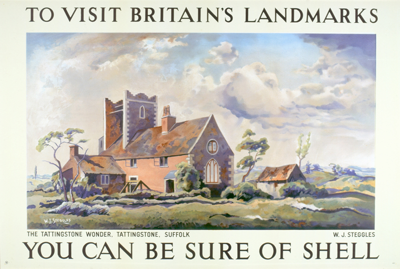 A Shell transport poster of the folly Tattingstone Wonder in Suffolk by the artist WJ Steggles for the You Can be Sure of Shell campaign