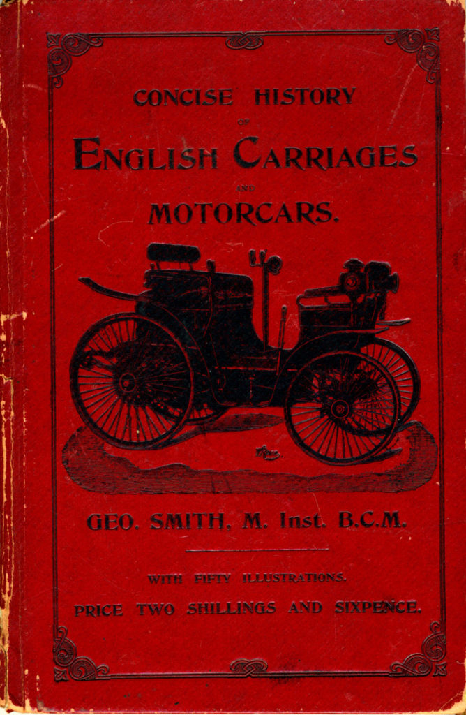 Front cover of the Concise History of English Carriages, red with motor car