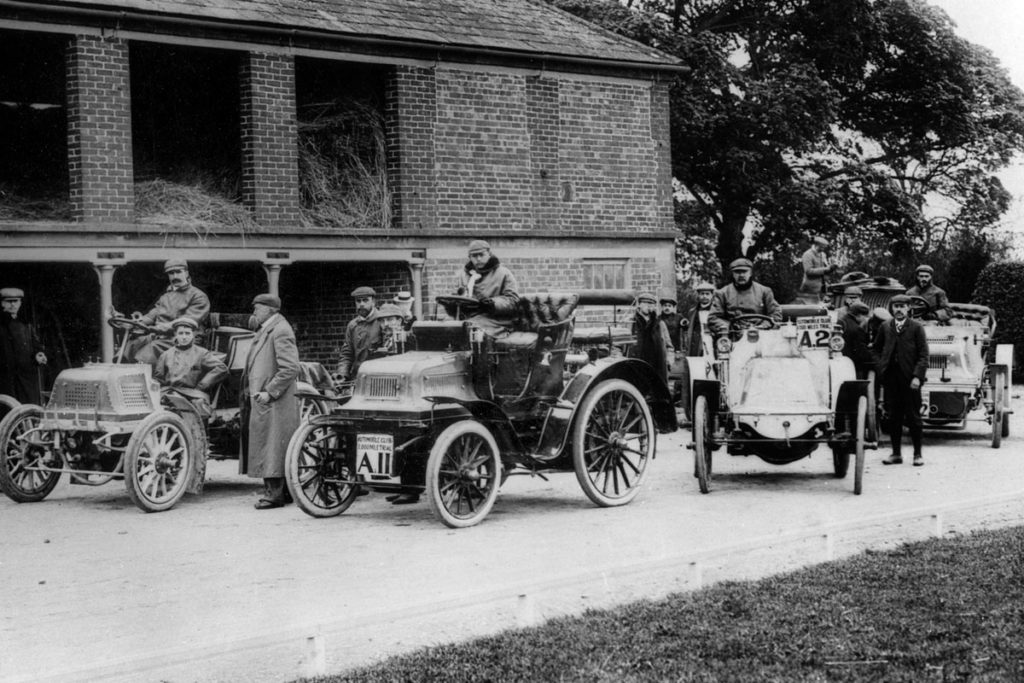 John Scott Montagu at the wheel of his 12hp Daimler