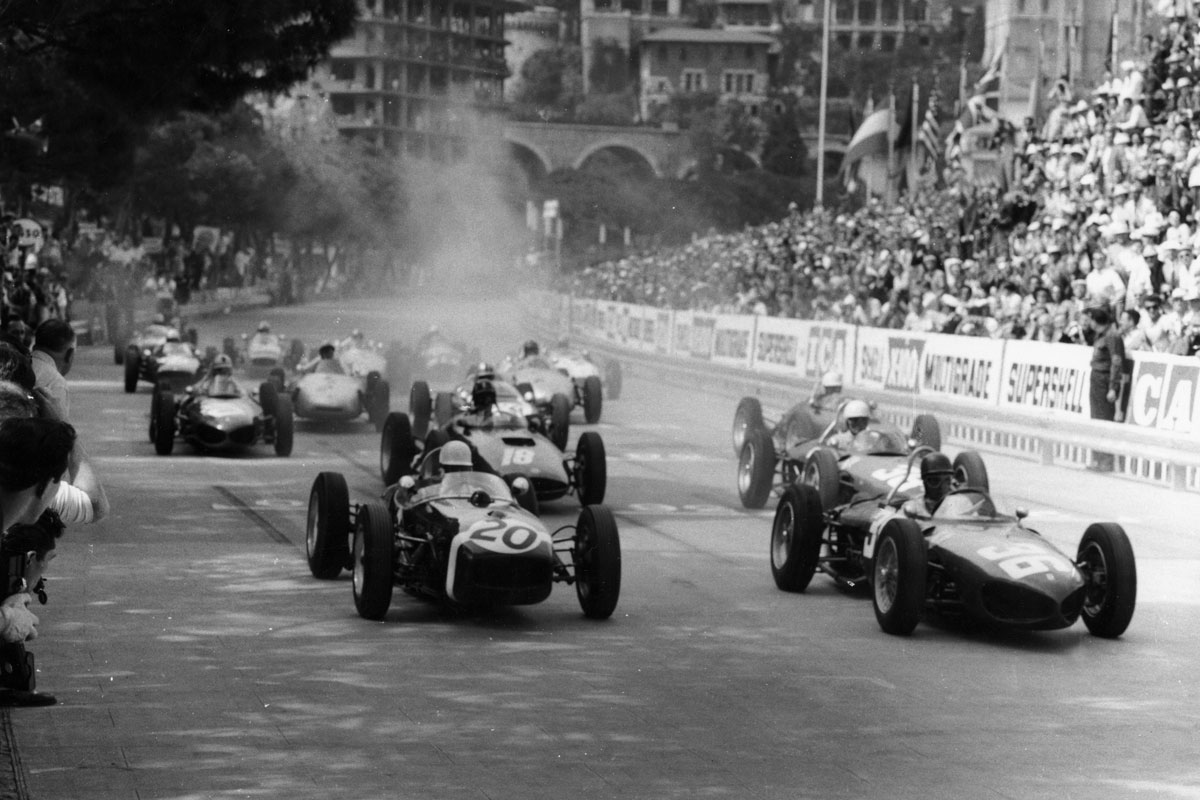 1961 Monaco GP, Stirling Moss in Rob Walkers Lotus 18.