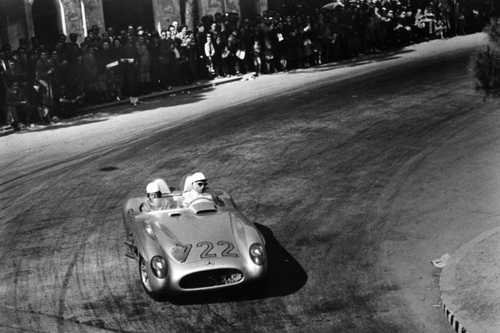 Moss and Jenkinson in Mercedes 300SLR at the Mille Miglia, 1955.
