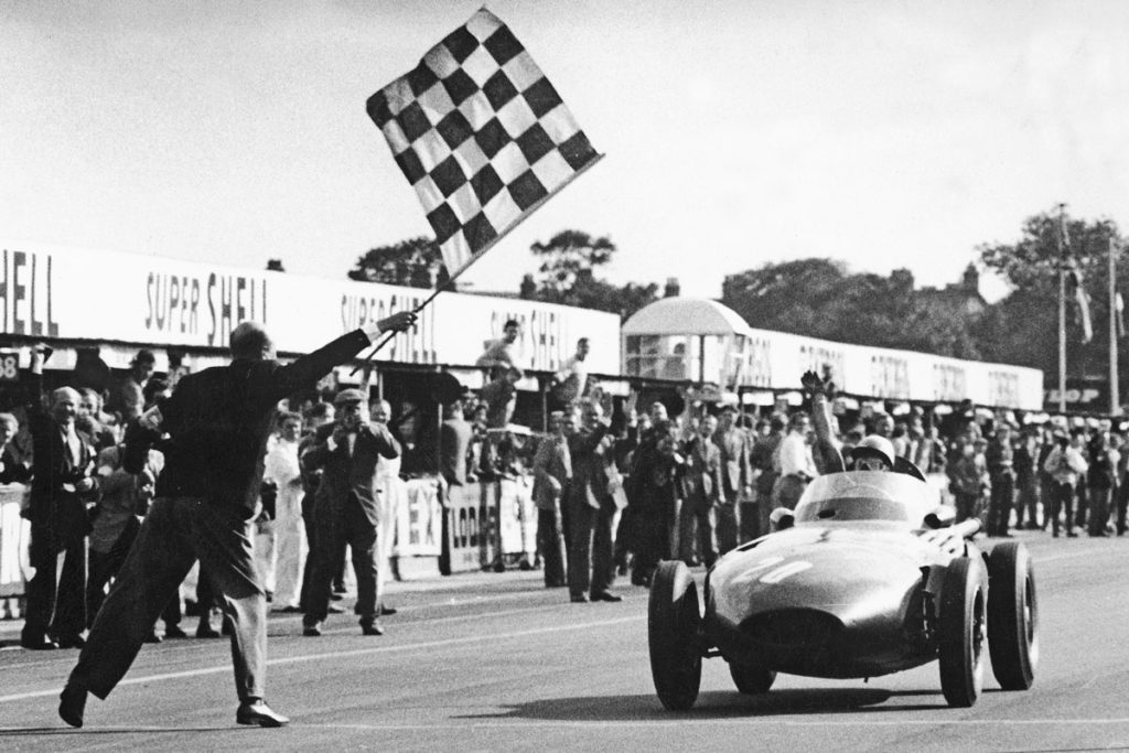 Stirling Moss victorious at the 1957 British GP, Aintree