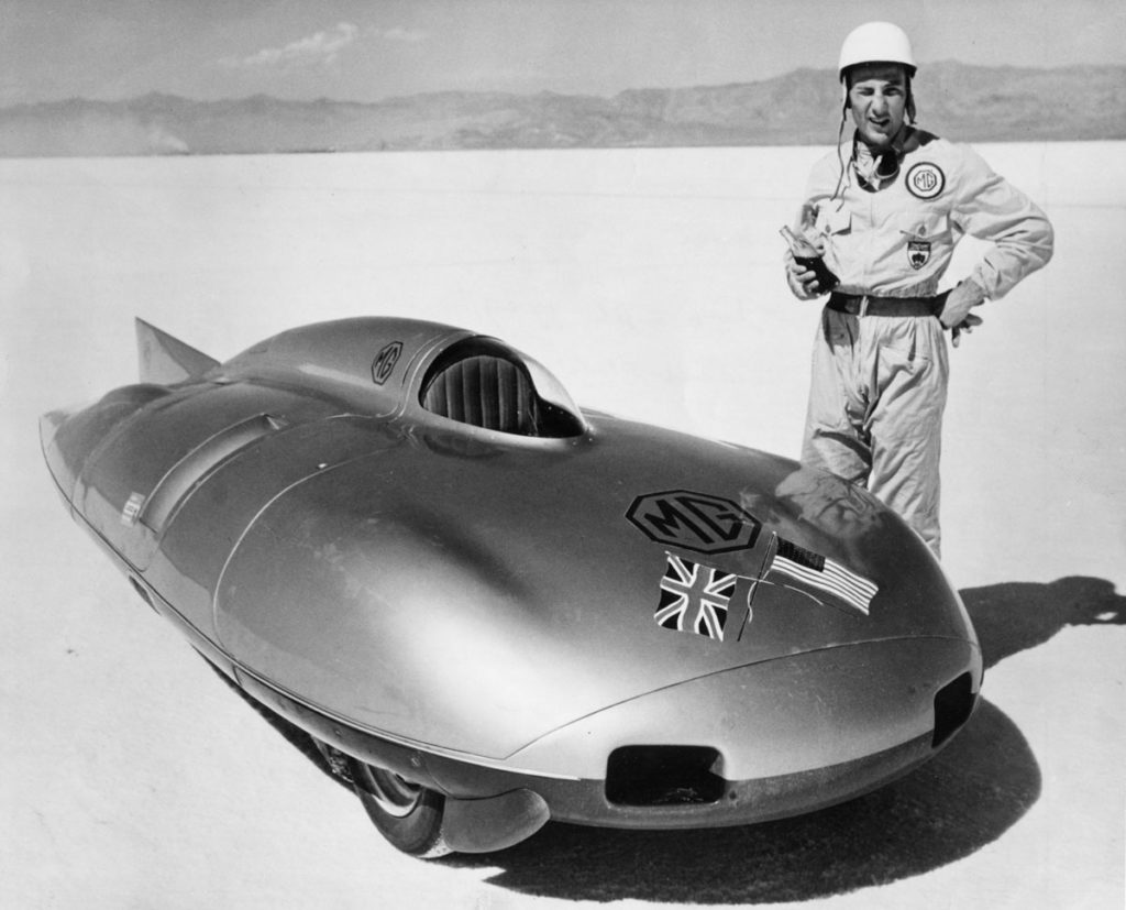 Stirling Moss with MG EX181 at Bonneville, 1957