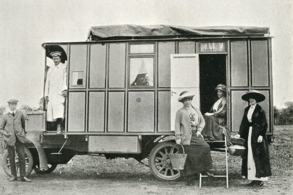 Mrs Madge Paton's 1912 motor caravan named Tortoise