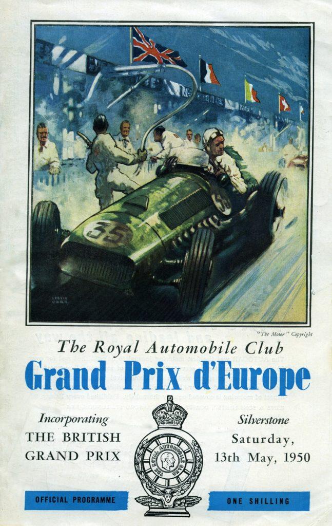 First World Championship race programme, British GP, Silverstone, 1950