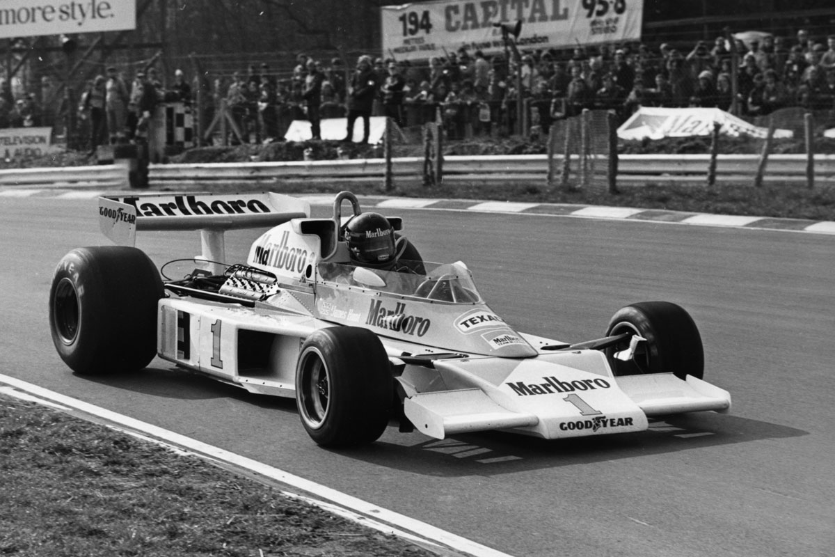 James Hunt in the McLaren Ford M23, 1977