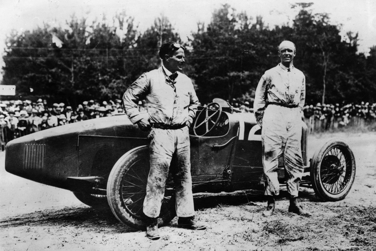 Paul Dutoit and Major Henry Segrave after winning the 1923 French GP for Sunbeam