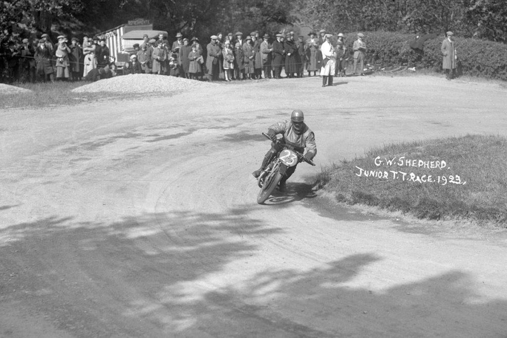 G.W Shepherd on a Beardmore at the Junior TT 1923