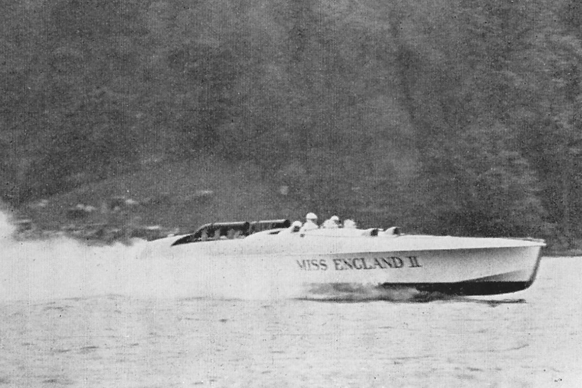 The boat, Miss England II, on Windermere, 1930