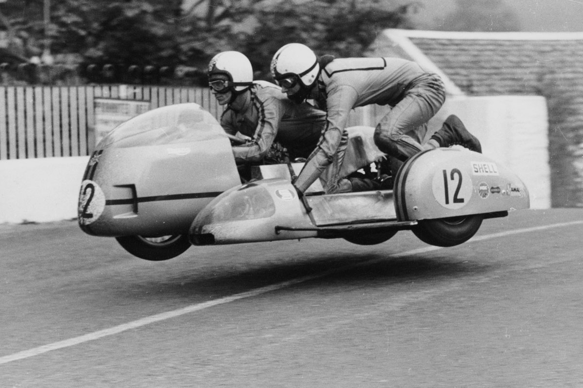 Sidecar racing at the IOM TT, 1970