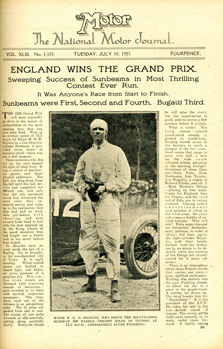 The Motor reports Segrave's victory