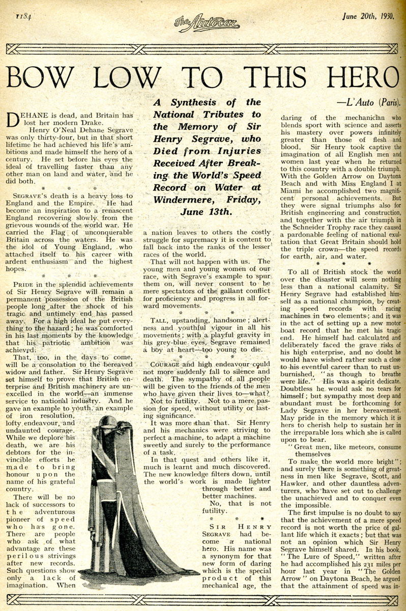 Tributes to Sir Henry Segrave, Autocar 1930