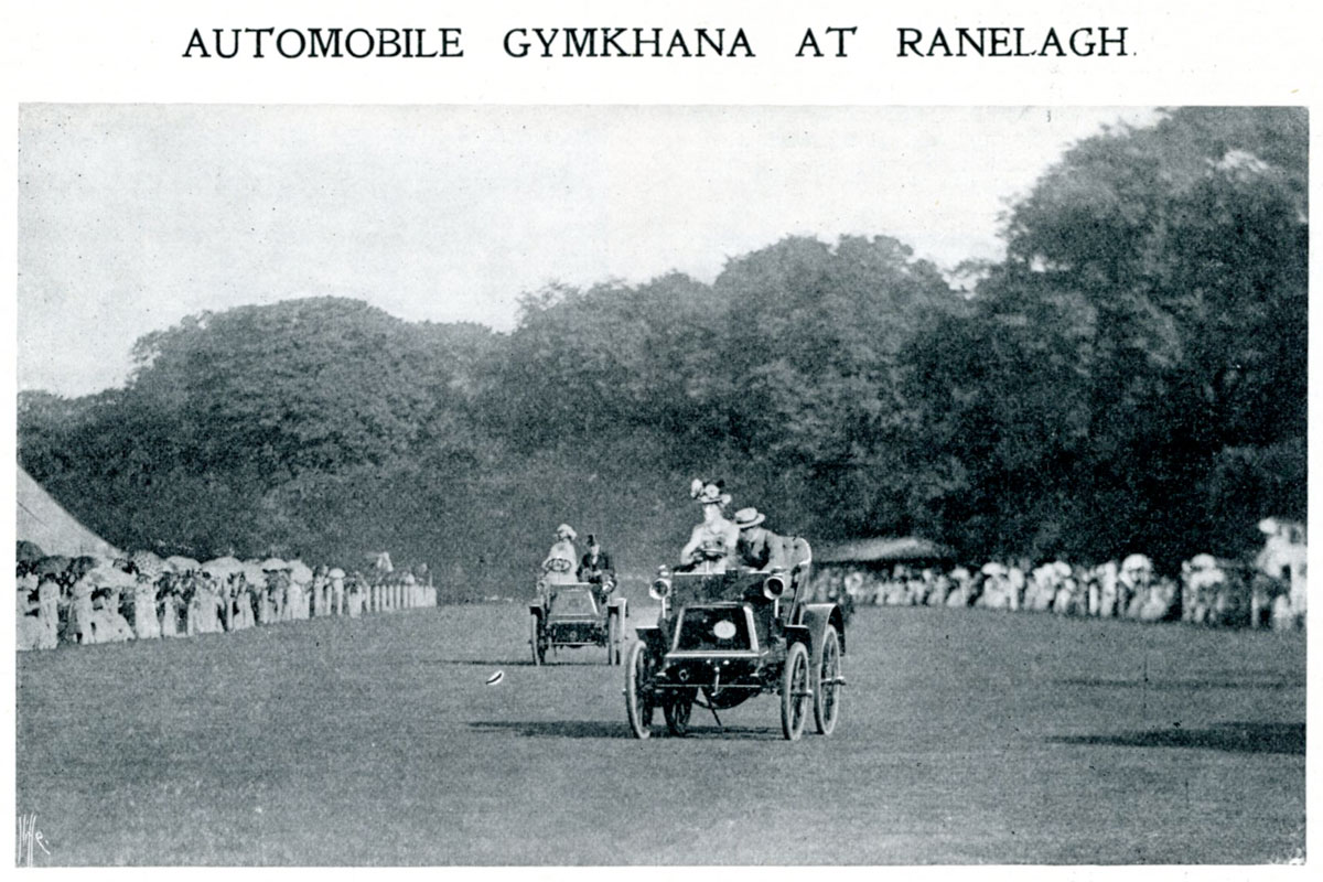 Cars take part in the Ranelagh Club Automobile Gymkhana, 1900