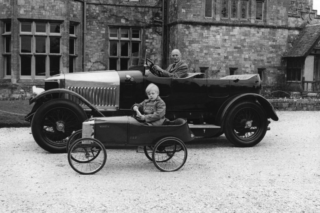Lord Montagu with his father, Edward, Lord Montagu in model Vauxhall