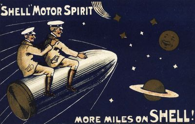 'More miles on Shell' postcard, 1907 two men flying to the moon on a rocket