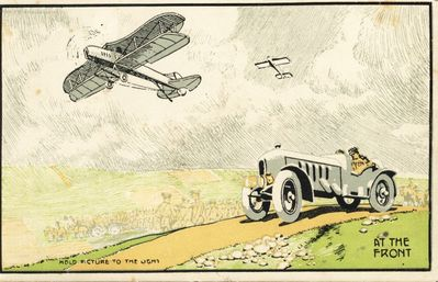 1905 Shell postcard of biplane and motorcar