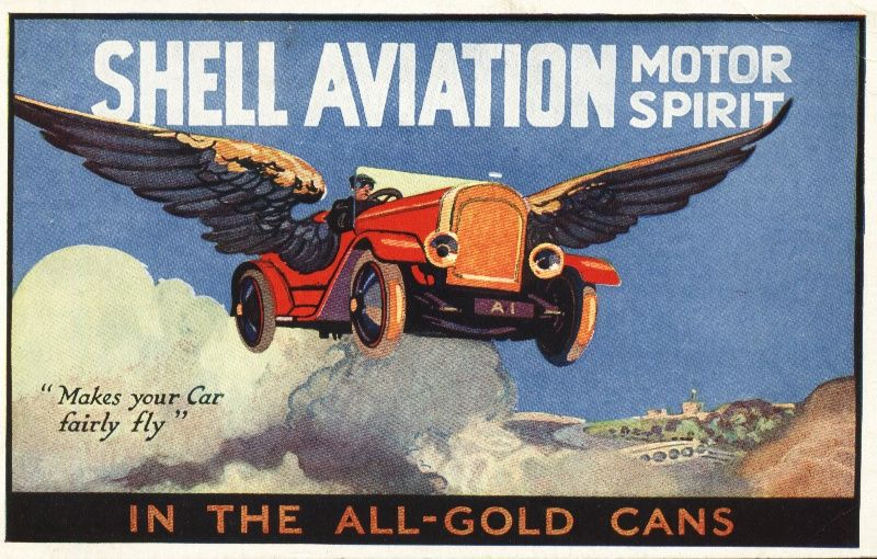 1905 Shell Postcard of flying car