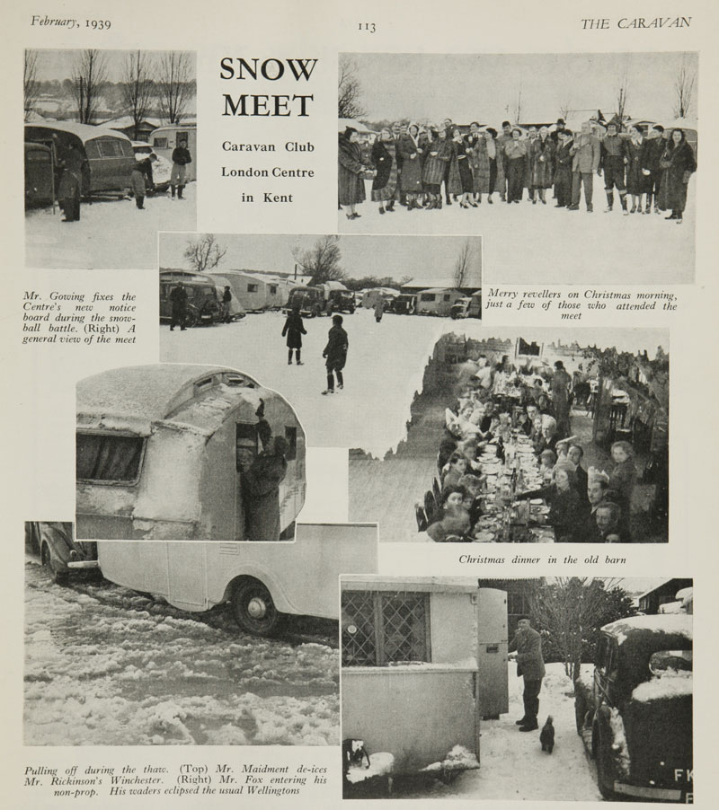 Magazine page with black and white images of caravans at a snowy rally