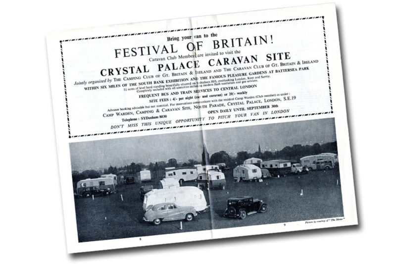 Page of a magazine advertising a caravan site