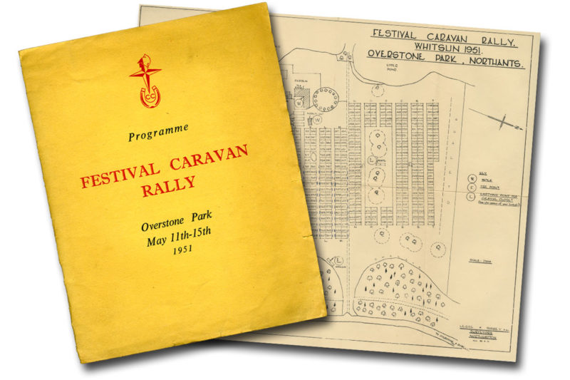 A programme and map relating to a 1950s caravan rally event