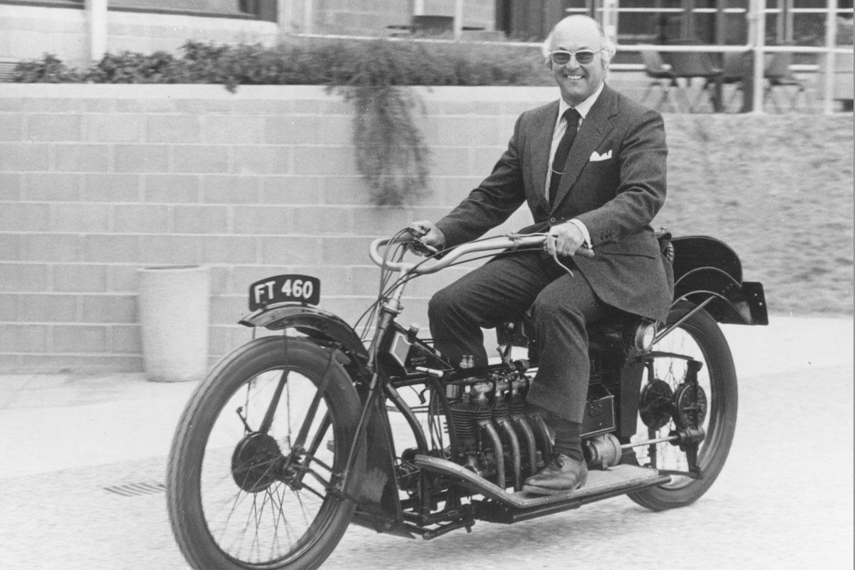 Murray Walker riding a 1909 Wilkinson at Beaulieu