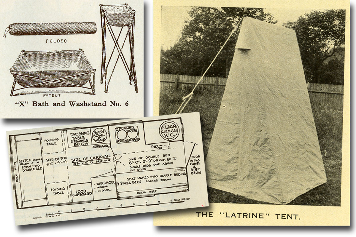 Pictures of portable toilet tents and collapsible bath and washstand.