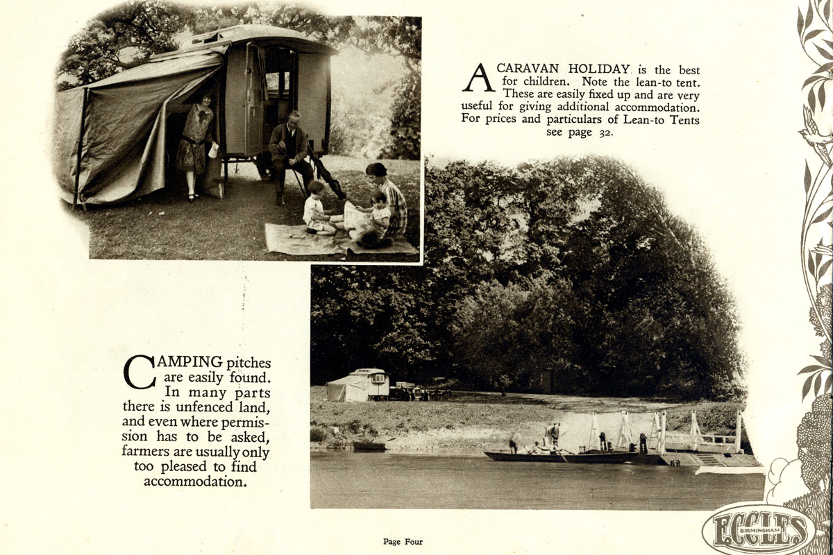 A page from an advertising brochure featuring images of trailer caravans