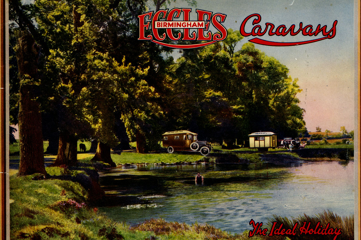A colourised drawing of a trailer caravan and motor caravan by a lake