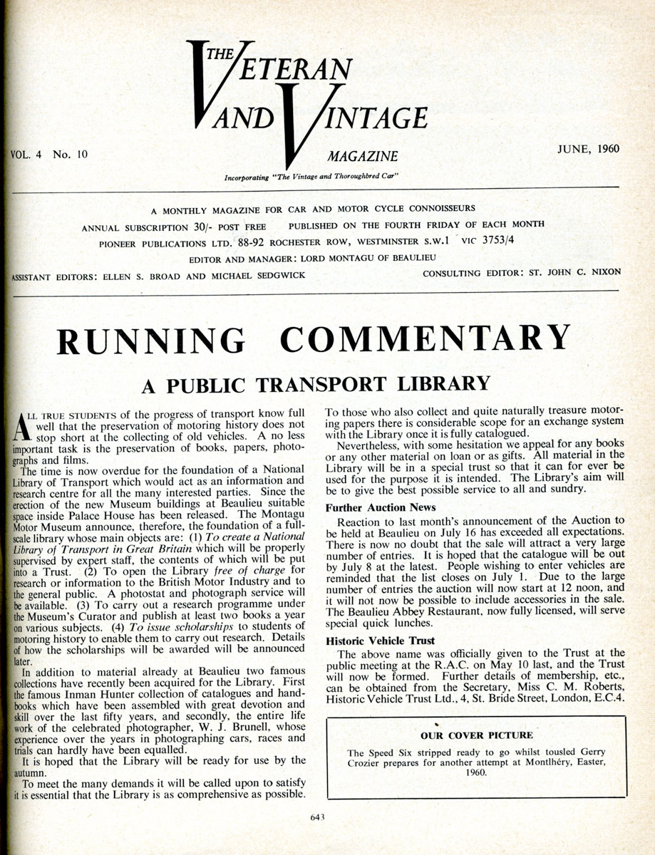 Library appeal as reported in the Veteran and Vintage magazine