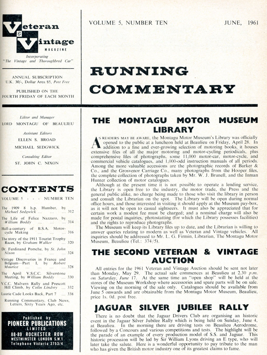 Opening of the Reference Libray as reported in the Veteran and Vintage magazine, 1961