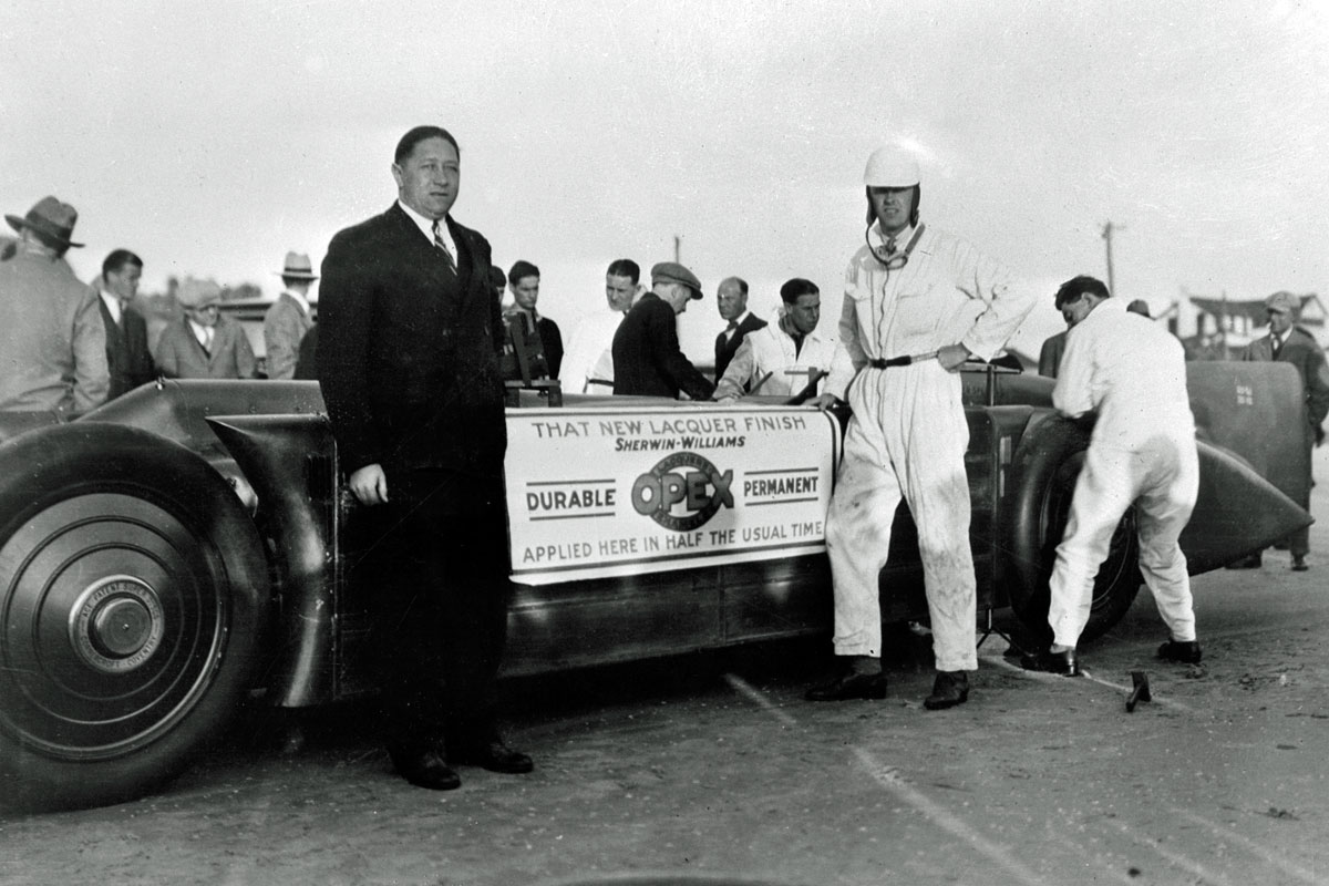 Henry Segrave and Golden Arrow at Daytona 1929 promoting Opex Lacquer
