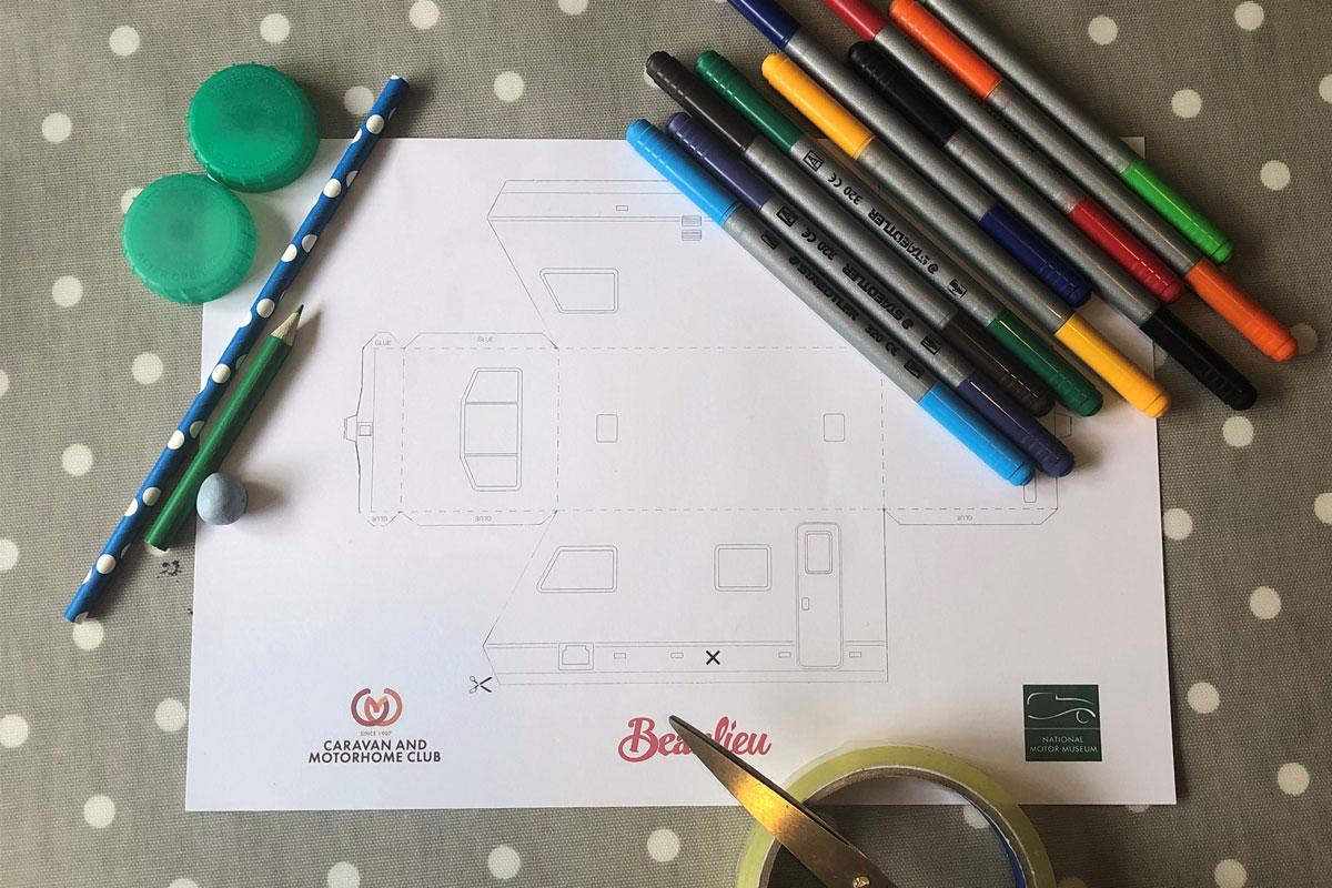Summer Fun creative activities sheet with colouring pencils