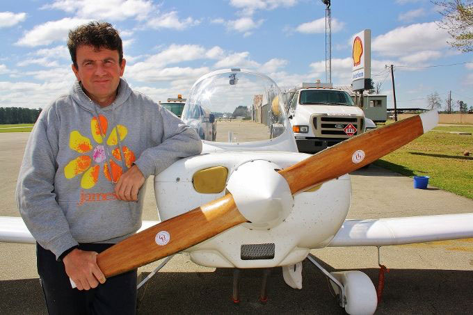 Colin Hales with his homebuilt plane